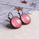 Damask drapery fülbevaló , Rózsaszín mintás, üveglencsés francia kapcsos...