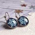 Frosty fülbevaló, Hópehely mintás, indigó kék és fehér színű...