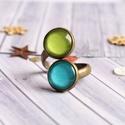 Fresh double gyűrű, Üveglencsés, türkiz-zöld színű dupla gyűrű...