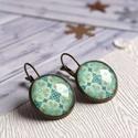Turquoise fülbevaló, Türkiz mintás, üveglencsés fülbevaló, bronz ...