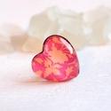 Grape heart gyűrű, Ékszer, Pink-narancs mintás szív alakú üveg betétes gyűrű. A gyűrűalap állítható, így mindenki ujjára passzo..., Meska
