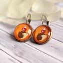 Süni fülbevaló, Narancs színű alapon süni mintás üveglencsés...