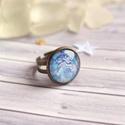 Blue flower gyűrű, Apró, antik kék virágmintás, színes és vidá...