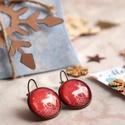 Reindeer 1. fülbevaló, Ékszer, óra, Fülbevaló, Karácsonyra készültem ezzel a kedves rénszarvas mintás ékszerrel. A grafika üveglencse alá, bronz fr..., Meska