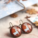 Reindeer 2. fülbevaló, Ékszer, óra, Fülbevaló, Karácsonyra készültem ezzel a kedves rénszarvas mintás ékszerrel. A grafika üveglencse alá, bronz fr..., Meska