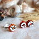 Starfish ékszerszett, Ékszer, Fülbevaló, Ékszerszett, Gyűrű, Apró gyűrűből és hozzá illő bedugós fülbevalóból álló szett, narancssárga színben, tengericsillag mi..., Meska
