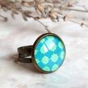 Deep blue gyűrű, Ékszer, Gyűrű, Kellemes, tengerkék színek találkoznak ebben a pici gyűrűben, mely üveglencse felhasználásával készü..., Meska