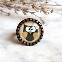 Owl gyűrű, Ékszer, Gyűrű, Őszi, baglyos gyűrű készült bájos kis grafikával, barna színekben, bronz gyűrű foglalattal. Az üvegl..., Meska