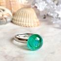 Azurro gyűrű , Ékszer, Gyűrű, Türkiz zöld, aprócska, áttetsző üveggyűrűt készítettem millefiori üvegből. Üde és friss ékszer, mint..., Meska