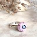 Ibolya  gyűrű , Ékszer, Gyűrű, Aprócska, lila üveggyűrű, melyet millefiori üvegből ipari kemencében olvasztottam. Szolid színe, vir..., Meska