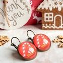 Candy cane fülbevaló , Ékszer, Fülbevaló, Karácsonyra készültem ezzel a kedves cukorpálca mintás ékszerrel. A grafika üveglencse alá, bronz fr..., Meska