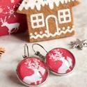 Red reindeer fülbevaló, Ékszer, Fülbevaló, Karácsonyra készültem ezzel a kedves, piros alapon rénszarvas mintás ékszerrel. A grafika üveglencse..., Meska