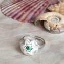 Starfish gyűrű, Ékszer, Gyűrű, Különleges, tengericsillag mintájú gyűrűt olvasztottam millefiori üvegből. Bájos, visszafogott darab..., Meska