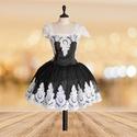 Fekete fehér csipkés álom, Ruha, divat, cipő, Esküvői ruha, Női ruha, Estélyi ruha, Varrás, Ez egy  kis fekete koktél  ruhát már egy éve szeretném elkészíteni ruha  4 méter tüllből és  6 méte..., Meska