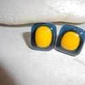 """""""INEZ"""" Üveg olvasztásos technikával készült fülbevaló , Ékszer, Fülbevaló, """"INEZ"""" Üveg olvasztásos technikával spektrum üvegből, áttetsző kék alapon sárga mintáv..., Meska"""