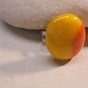 """""""MÉDEA"""" üveg gyűrű, Ékszer, Gyűrű, """"MÉDEA"""" Fusing technikával, spektrum üvegből készült napsárga-narancssárga színű 2,2 c..., Meska"""