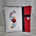 Hímzett textilbőr táska, Piros, fekete és fehér párosításával készü...