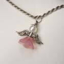 Angyal medál/Angel pendant, Kedves kis gyöngy angyalkát készítettem az ün...