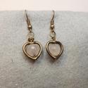 Rózsakvarc fülbevaló/Rosequartz earrings, Egy-egy rózsakvarcot tettem bele réz szívecské...