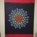 Mandala 7 csakra festmény, Dekoráció, Otthon, lakberendezés, Kép, Falikép, Pöttyöző technikával, 41x27 cm-es vászonra készült mandala festmény. Témája: naplemente, m..., Meska