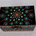 Mandala ékszeres doboz ajándék, Kézzel festett, lakkozott fa  ékszeres doboz Mé...