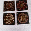Kézzel festett mandala képek, 4 db 15x15 cmes, 3mmes fa lapra, akrillal kézzel ...