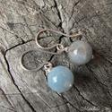 Aqumarin ezüst fülbevaló, Ékszer, Fülbevaló, Gyönyörű kék aquamarin golyókból készítettem, ezt az egyszerű fülbevalót. Minden része 925-ös ezüstb..., Meska