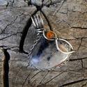 Sodalit ezüst medál - 925-ös ezüst, Ékszer, Medál, Különleges kékek-narancsos sodalittal leplek meg titeket, egy pici fazettált karneollal díszítettem...., Meska