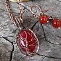 Életfa nyaklánc és fülbevaló, Vörös színű festett achátból készült ugyan...