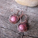 Rózsaszín rózsa fülbevaló, Ékszer, óra, Fülbevaló, Egy kedves kis fülbevaló minden alkalomra. Rodonit gyöngy díszíti.  Az akasztója is saját készítésű...., Meska