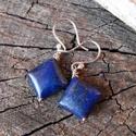 Rombusz lapis - ezüst fülbevaló, Ékszer, óra, Fülbevaló, Rombusz alakú lápis gyöngyből készült ez a fülbevaló. Minden része 925-ös ezüstből készült. Polírozo..., Meska