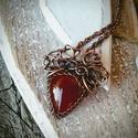 Princess - Karneol réz nyaklánc, Ékszer, óra, Nyaklánc, Meleg narancs színe szinte felmelegít. Természetes karneol kő, pici, csiszolt ametiszt kövekkel dísz..., Meska