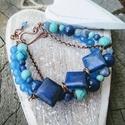 Blue réz karkötő , Kék kövekből készült karkötő. Achátok, sod...