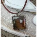 Hajnal - ezüst medál , Ékszer, Nyaklánc, Narancs-lila színű különleges labradorit ezüst (925) négyzet alakú minimalista medál. Egyedi minta a..., Meska