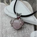 Heart - rózsakvarc ezüst medál - 925-ös ezüst, Rózsakvarc szív ezüst medál gránát gyönggye...