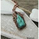 Tenger- réz nyaklánc, Ékszer, Nyaklánc, Labradorit ásványból készült szépséges réz nyaklánc. A kő fordításra változtatja a színét, kékes fén..., Meska