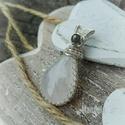 Holdkő ezüst medál, Szivárvány holdkőből készült, virágos ezüs...