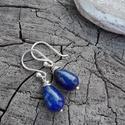 Lapis lazuli ezüst fülbevaló, Ékszer, Fülbevaló, Mélykék lapis ásványból készült ezüst fülbevaló. Minden része 925-ös ezüstből készült.  Alkalmi és h..., Meska