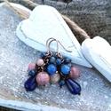 Kék-púder bogyós fülbevaló, Ékszer, Fülbevaló, Egy kedves kis fülbevaló minden alkalomra. Kedvenc ásványaimmal, lapis, rodonit, rodokrozit, achátok..., Meska
