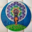 Üvegmandala - Spiritualitás és termékenység, Dekoráció, Esküvő, Kép, Nászajándék, Festett tárgyak, A 30 cm-es mandala üveglapra, üvegfestékkel, kézzel festve készült. Majd a tartósság biztosítása ér..., Meska