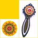 Mandalás könyvjelző 7, Ékszer, Mandala motívumos könyvjelző 20 mm-es üveglencsével, bronz színű könyvjelző alapban. A kön..., Meska