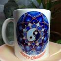 Kék yin yang mandala bögre, Konyhafelszerelés, Bögre, csésze, Fotó, grafika, rajz, illusztráció, Kerámia, Egyedi, mandalamintás bögre. Fehér kerámia bögrére készült,melynek az űrtartalma 250ml, Saját készí..., Meska