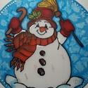 Hóemberes mandala, Dekoráció, Képzőművészet, Kép, Ünnepi dekoráció, Hóember mandala.Kör alakú 25 cm átmérőjű 100% selyem mandala-ablakkép. A téli hónapokban k..., Meska