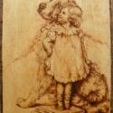Kislány kutyájával, Otthon, lakberendezés, Dekoráció, Képzőművészet, Falikép, Mindenmás, Famegmunkálás, 4mm-es rétegelt lemezre, pirográffal készített kép vékony lazúrréteggel. Hátulján bőr akasztó talál..., Meska