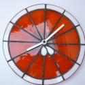 Narancsszelet óra, Dekoráció, Otthon, lakberendezés, Dísz, Falióra, Rézfóliás technikával, 3mm vastag színes üvegből  készült falióra. Átmérője: 20,5 cm  A..., Meska