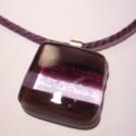 Lila  csíkoska medál, Ékszer, óra, Nyaklánc, Medál, Üvegolvasztással készült medál,  melyhez üvegrudat használtam fel.  Mérete 2.4x2.4 cm(akaszt..., Meska