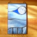 Millés fali kulcstartó, Dekoráció, Otthon, lakberendezés, Dísz, Tárolóeszköz, Üvegművészet, Rézfóliás (tiffany) technikával készült kék millefiori berakásos fali kulcstartó, három kulcscsomó ..., Meska
