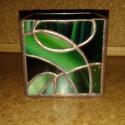 """""""Zöldek"""" mécsestartó, Dekoráció, Otthon, lakberendezés, Dísz, Gyertya, mécses, gyertyatartó, Üvegművészet, Rézfóliás technikával, 3mm vastag üvegből készült mécsestartó, többféle zöld színből összeállított ..., Meska"""
