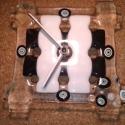 Fekete-fehér óra, Ékszer, Karóra, óra, Üvegolvasztással készült falióra, melyhez moretti üveget és millefiori gyöngyöt használtam..., Meska