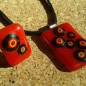 Piros pöttyös  medál és gyűrű, Ékszer, Ékszerszett, Üvegolvasztással készült medál és gyűrű, melyhez moretti üveget és millefiori gyöngyöt h..., Meska